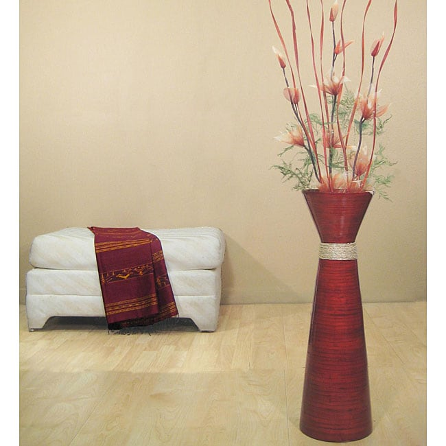 Flowers with 28-inch Persimmon Bamboo Plantation Floor Vase