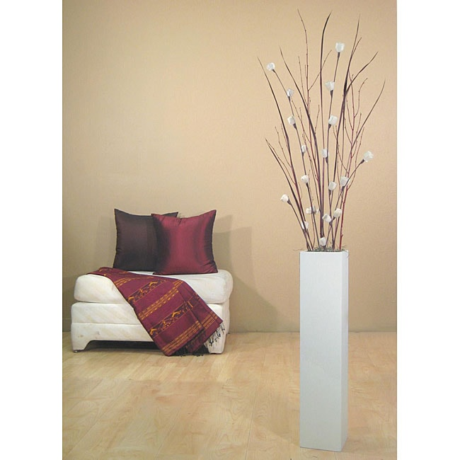 Mini Roses With 27 Inch Tall White Floor Vase Free