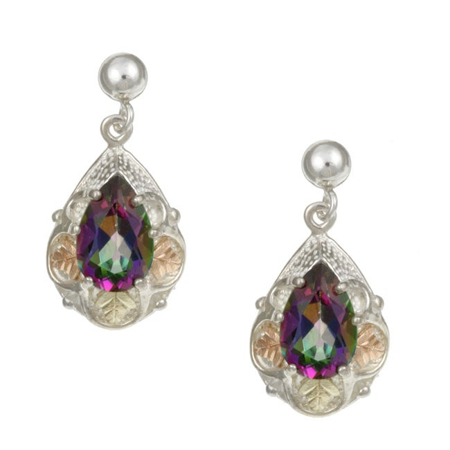 Silver And Black Hills Gold Mystic Fire Topaz Earrings