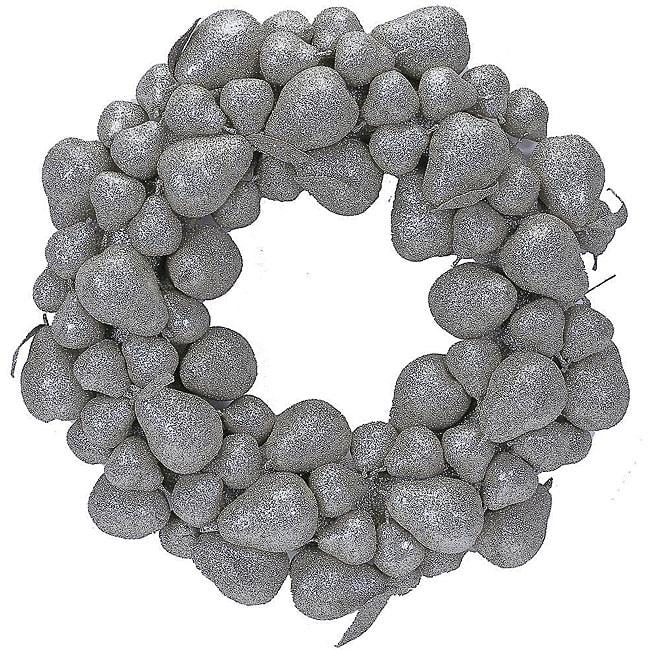 Silver Glitter Pear Wreath