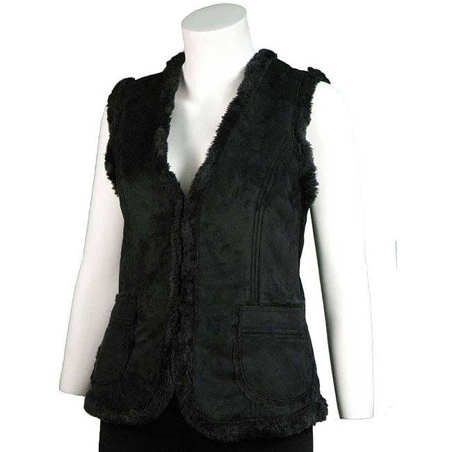 Basic Line Women's Black Faux Shearling Vest