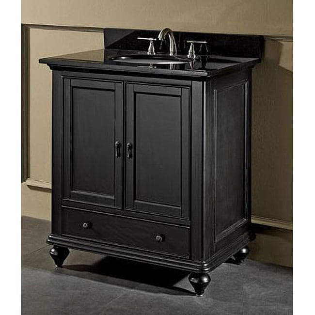 Cambridge 30 Inch Black Granite Top Vanity With Undermount