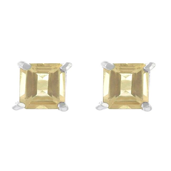 Journee Sterling Silver Created Citrine 4-mm Square Stud Earrings