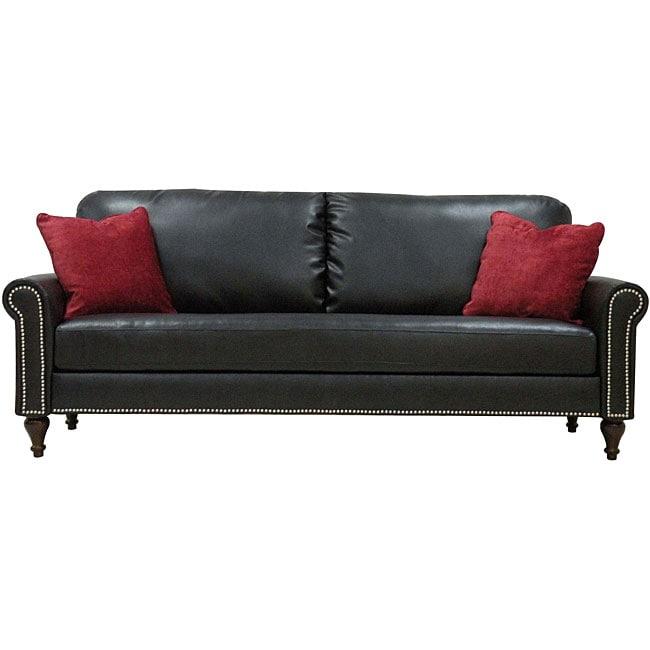 James Black Renu Leather Rolled Arm Sofa Free Shipping