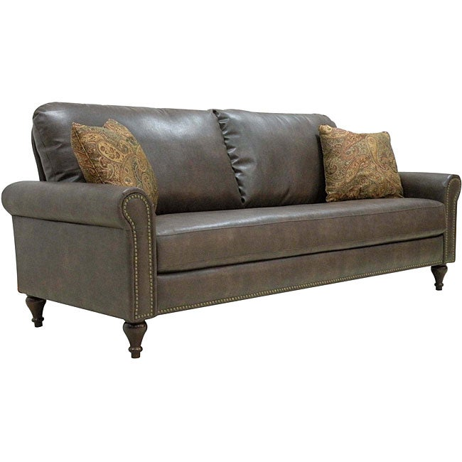 James Renu Brown Leather Rolled Arm Sofa Free Shipping