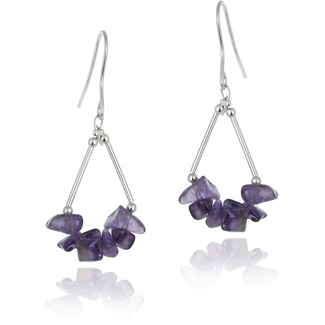 Glitzy Rocks Sterling Silver Amethyst Chip Earrings