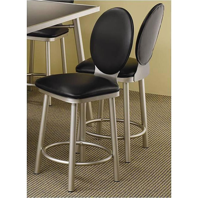 Satin Metal Black Counter Stools Set Of 2 Free