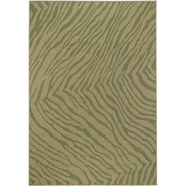 Meticulously Woven Green/Beige Zebra Cafe Animal Print Rug (7'6 x 10'6)