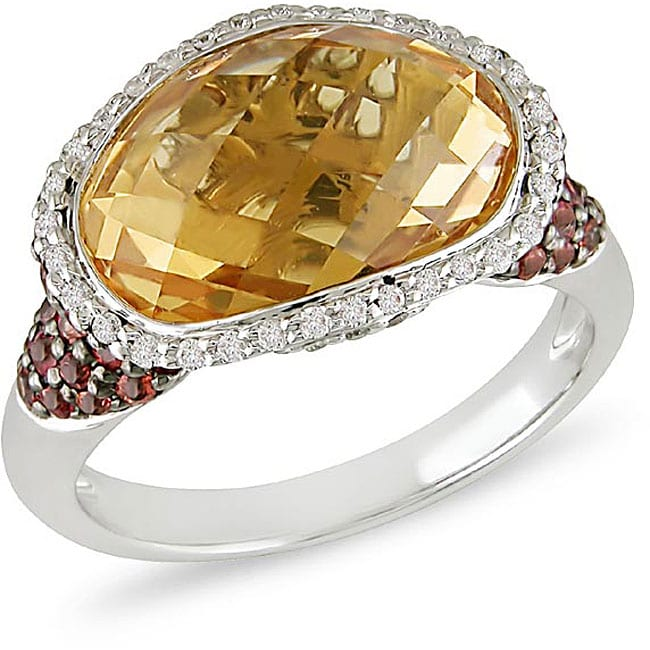14k Gold Orange Sapphire/ Citrine/ 1/3ct TDW Diamond Ring (Size 7)
