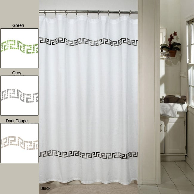 westone 'greek key' embroidered shower curtain - free shipping on