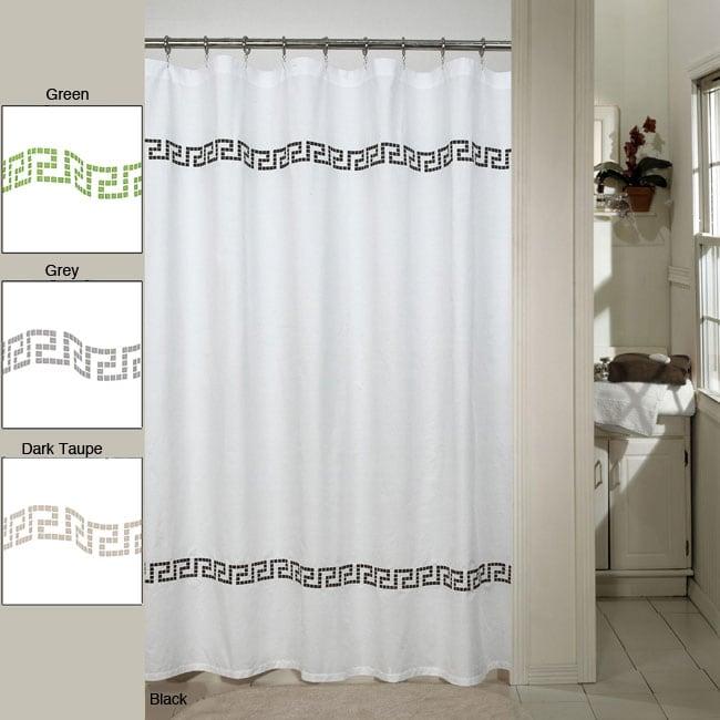 Westone 'Greek Key' Embroidered Shower Curtain