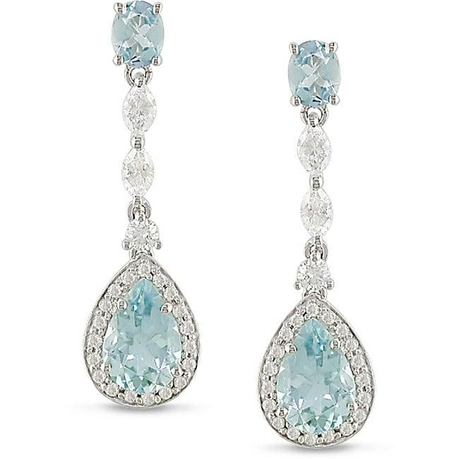 14k Gold Aquamarine and 3/4ct TDW Diamond Earrings (G-H-I, SI-SI1)