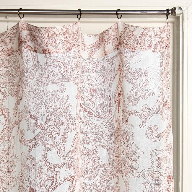 Printed Linen Beige/ Rust Curtain Panel (India)