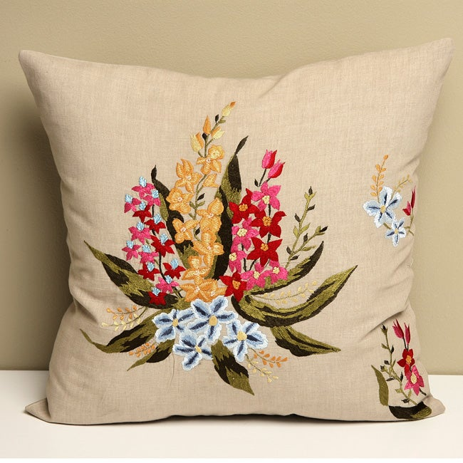Beige 16x16 'Orchid' Embroidered Cotton Cushion Cover (India)