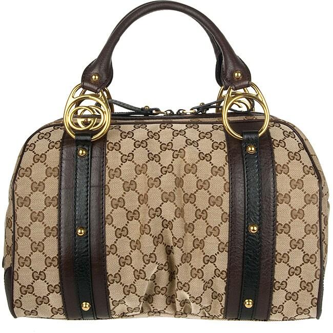 Gucci Beige/ Dark Brown Interlocking Medium Boston Bag