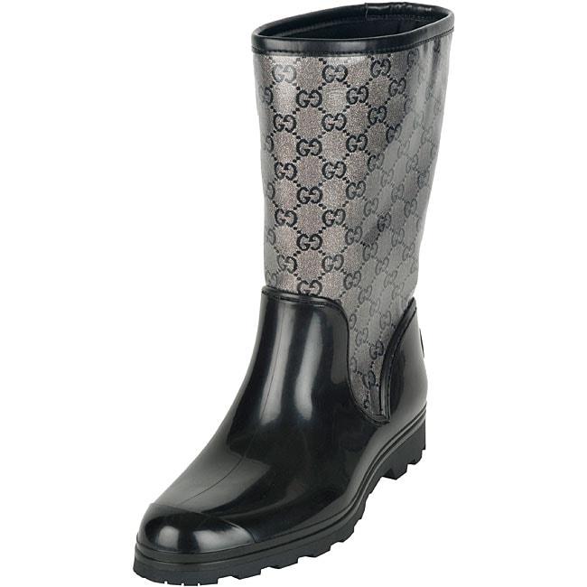 ff9dcd788aa Shop Gucci Women s Prato Black  Grey Flat Rain Boots - Free Shipping ...