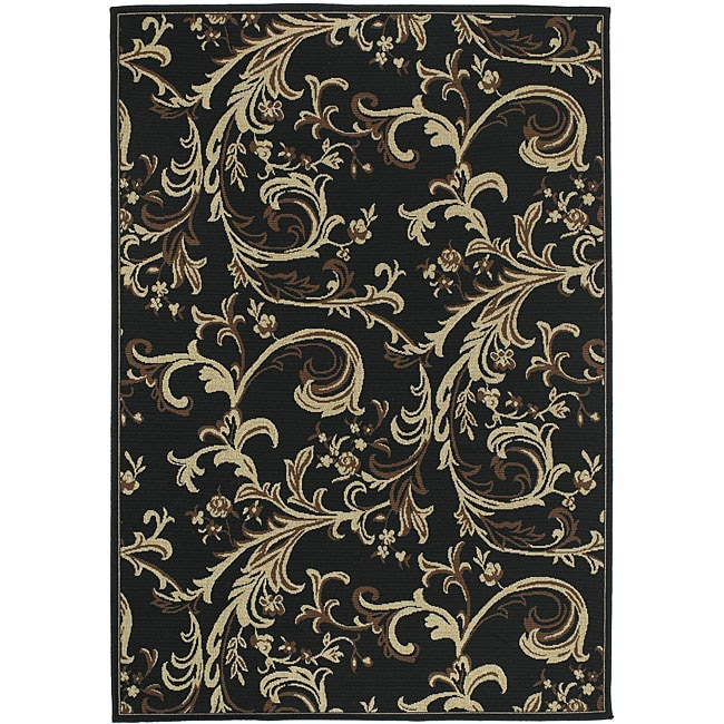 Cafe Black Floral Indoor/Outdoor Rug (7'6 x 10'6)