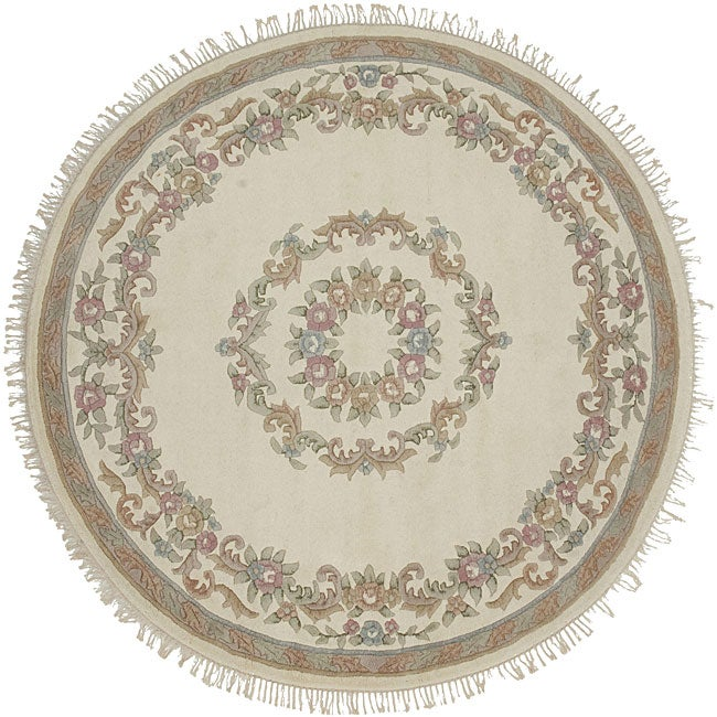Hand-knotted Ivory Wool Aubusson Rug (8' Round)