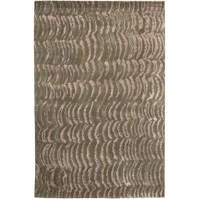 Hand-knotted Royal Green NZ Abstract Design Wool Area Rug - 8' X 11'