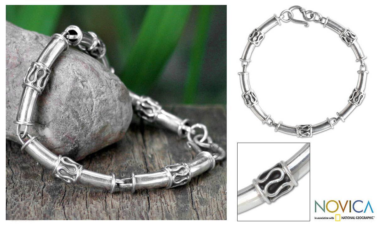Sterling Silver 'Bamboo' Link Bracelet (Thailand)