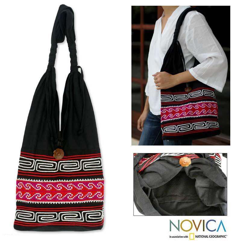 'Violet Art' Cotton Shoulder Bag (Thailand)