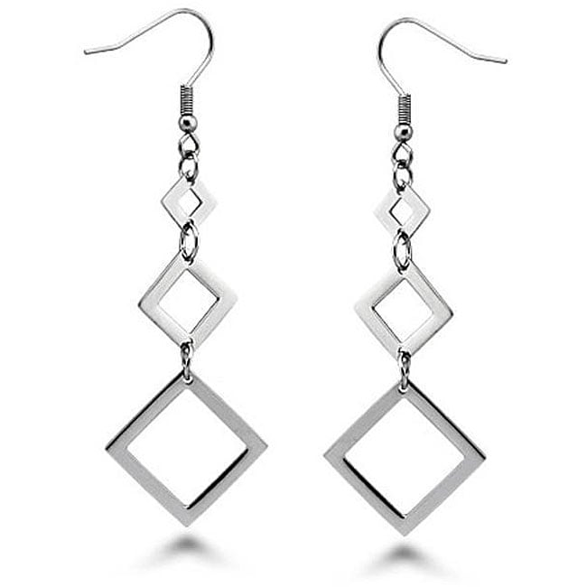 Oliveti Stainless Steel Square Graduated Drop Earrings
