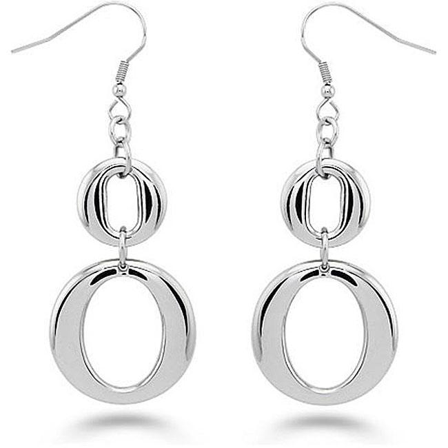 Oliveti Stainless Steel Double 'O' Dangle Earrings