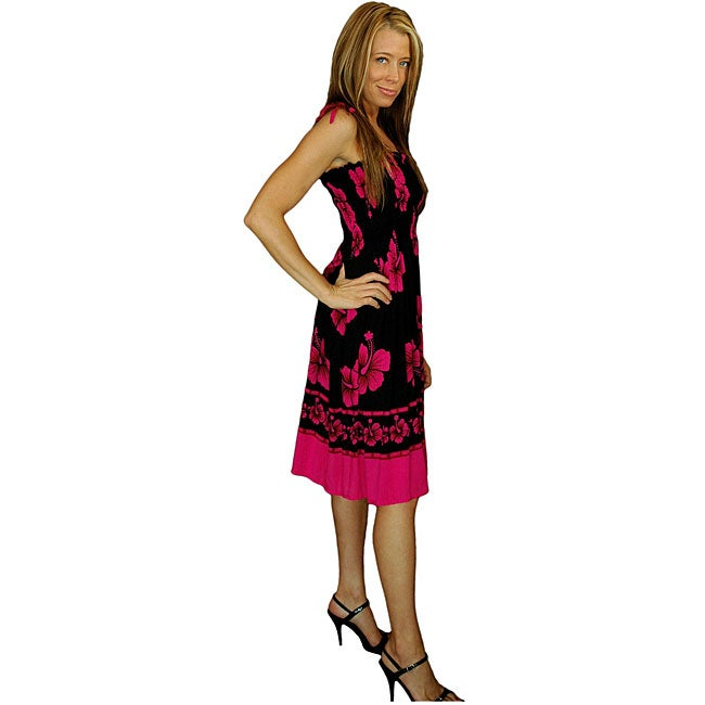 1 World Sarongs Women's Hibiscus Design Black/ Pink Tube Dress (Indonesia)