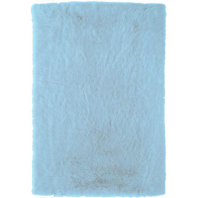 Meticulously Woven Himalaya Light Blue Shag Rug (5' x 8')