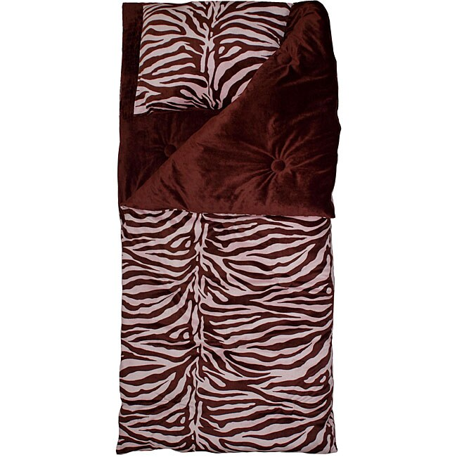 Thro Zebra Print Chocolate Pink Microluxe Sleeping Bag
