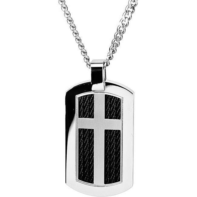 Oliveti Stainless Steel Cross Dog Tag Necklace