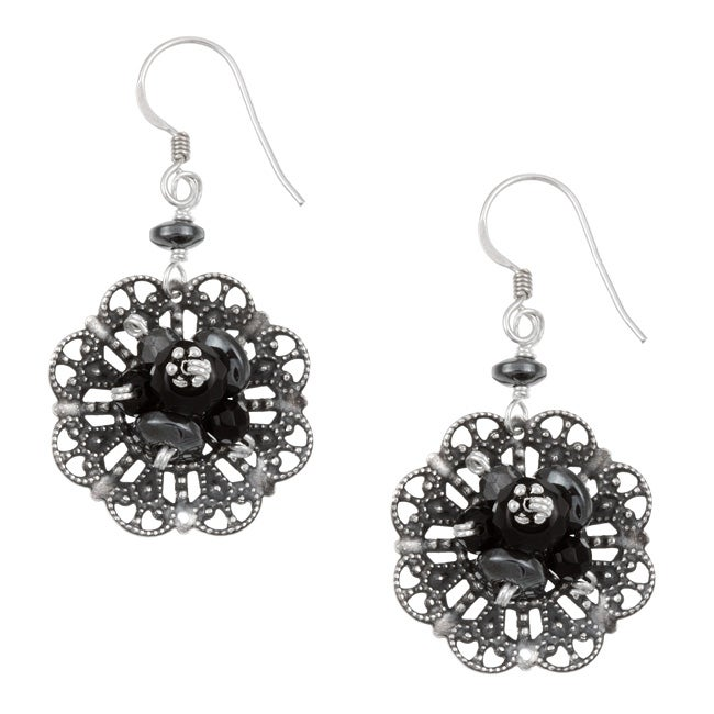 Sterling Silver Onyx and Hematite Filigree Flower Earrings