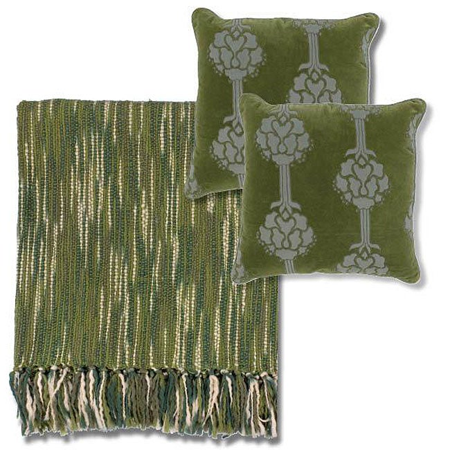 Green/ Ivory Throw Blanket and Decorative Pillows