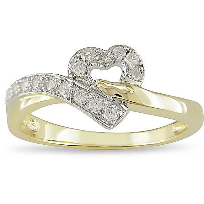 10k Two-tone Gold 1/6ct TDW Diamond Heart Ring