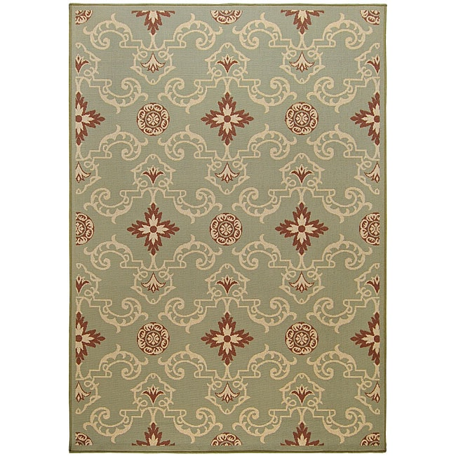Cafe Green Geometric Indoor/Outdoor Rug (5'3 x 7'6)