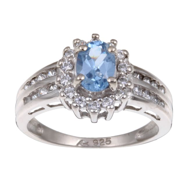 Sterling Silver Oval Light Blue Cubic Zirconia Ring