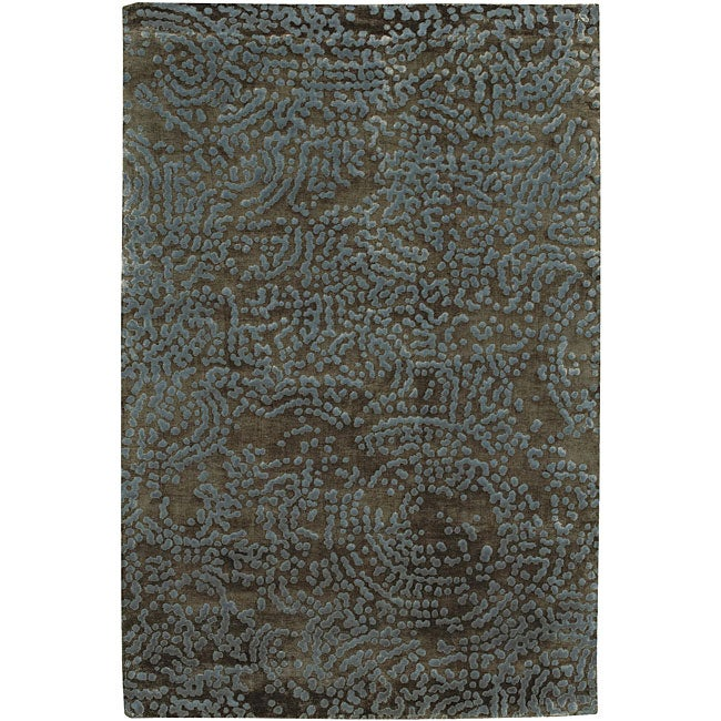 Hand-knotted Abstract Design Wool Rug (2 '6 x 10')