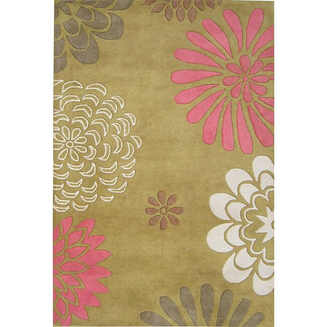Hand-tufted Giant Flowers Green Wool Rug (5' x 8')