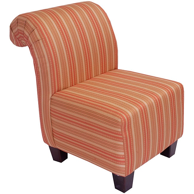 Persimmon Stripe Roll Back Slipper Chair Free Shipping
