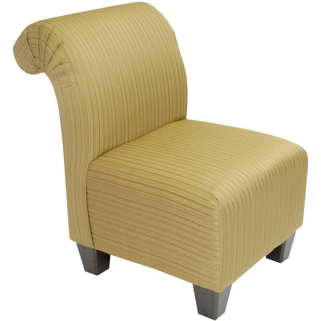 Green Satin Stripe Roll Back Slipper Chair Free Shipping