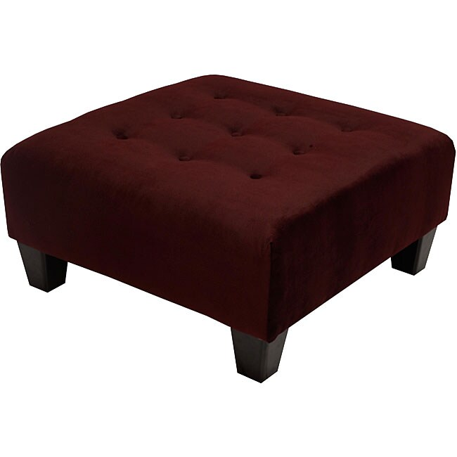 Tufted Burgundy Microsuede Cocktail Ottoman Free