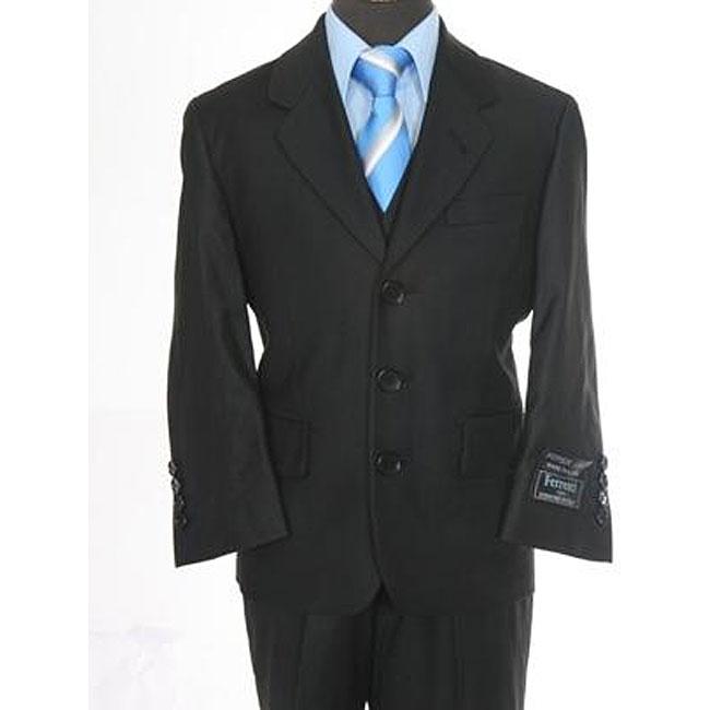 Ferrecci Boy's Black 3-piece Suit
