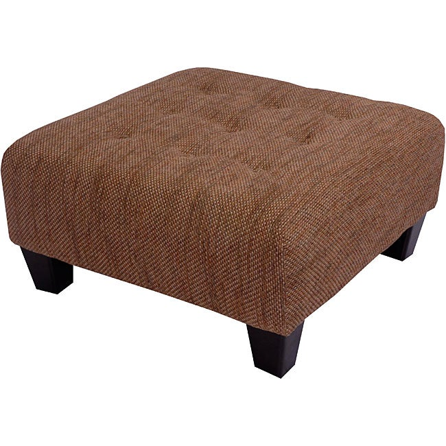 Brown Tweed Tufted Cocktail Ottoman