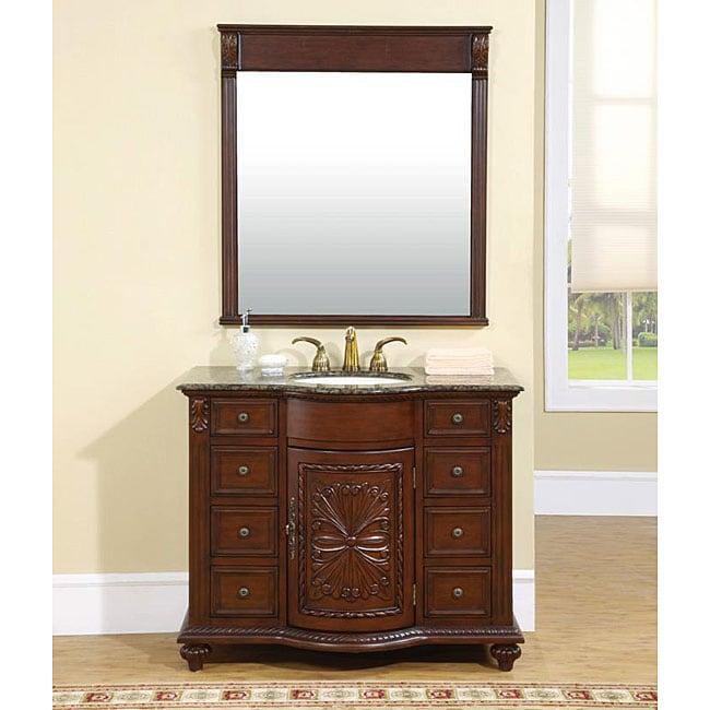 silkroad exclusive irvine bathroom single sink vanity and mirror set