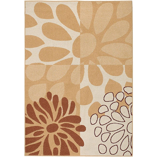 Meticulously Woven Beige Contemporary Manchester Floral Set of 2 Rugs (2' x 3')