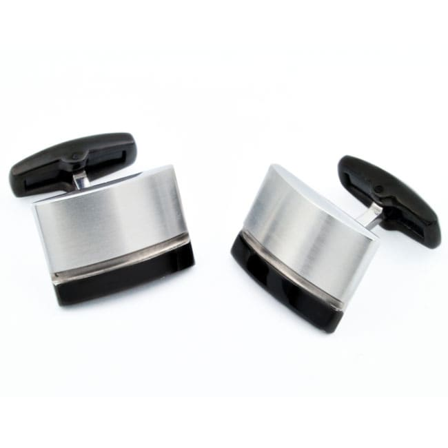 West Coast Jewelry Stainless Steel Men's Black Stripe Cuff Links