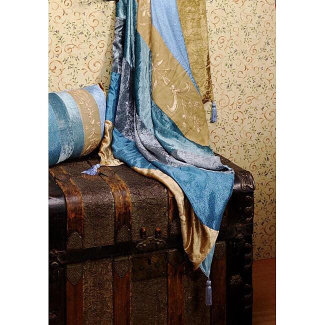 Blue Velvet Stripe Throw Blanket (India)