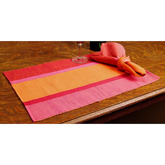 Set of 8 Pink and Orange Kitchen Linens Tray (India)