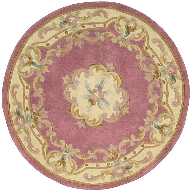 Hand Tufted Pink Floral Wool Rug 4 Round Free
