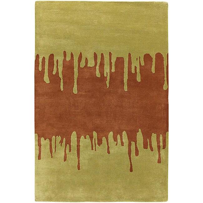 Hand-tufted Green New Zealand Wool Mandara Rug (5' x 7'6)